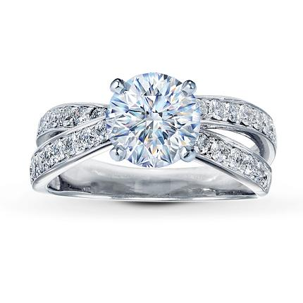 diamond ring setting 12 ct tw round cut 14k white gold