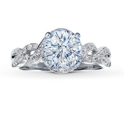 diamond ring setting 14 ct tw round cut 14k white gold