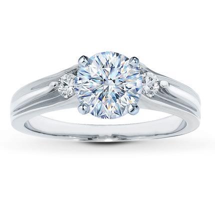diamond ring setting 18 ct tw round cut 14k white gold - Kays Wedding Rings