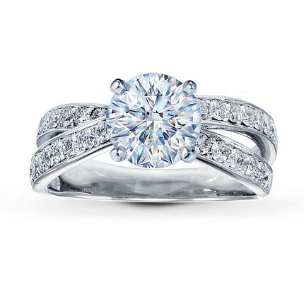 diamond ring setting 12 ct tw round cut 14k white gold - Design Wedding Ring